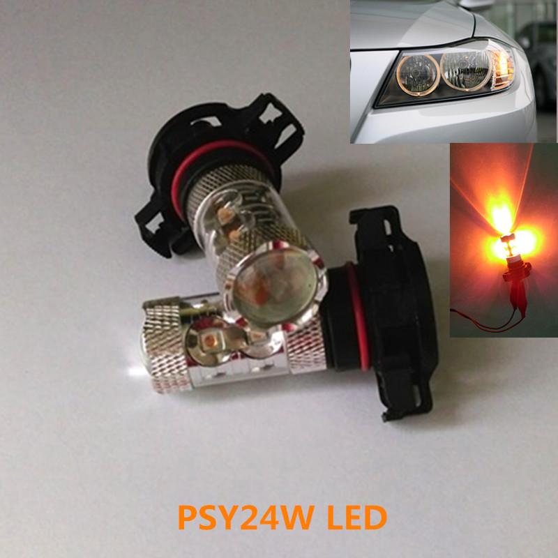 2Pcs New 50W PSY24W High Power XPE CREE Chips LED Amber Indicator Bulbs Turn Signal Light For BMW & Other Cars
