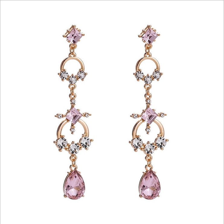 Many Colors! Shiny Geometrical Square Zircon Stone Dangle Drop Earrings Fashion Jewelry for Women Evening Dress Accessories