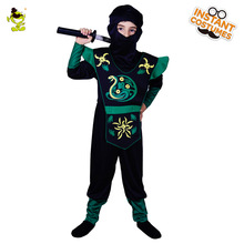 Kid's Black Hooded Ninja Costume med Green Snake Print Assassin Cosplay Fancy Suit til Halloween Masquerade Party for Kids