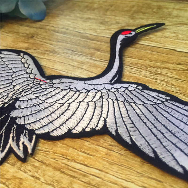 New Arrival Iron on Patch 1pc Chinese style Crane For Women Chinese Classical Symbol Bird Custom Clothes Big Patch Animal Vogue in Patches from Home Garden