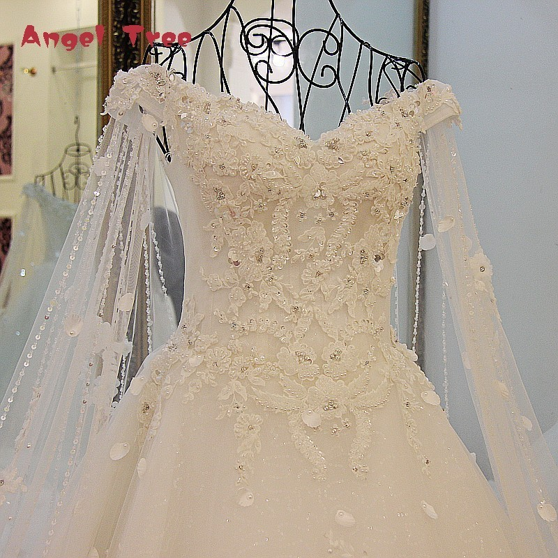 Angel Tree Luxury Wedding Dresses Princess with Long Cape Ivory Bridal Gowns Corset Back Robe De Mariee 2018 Real Photos