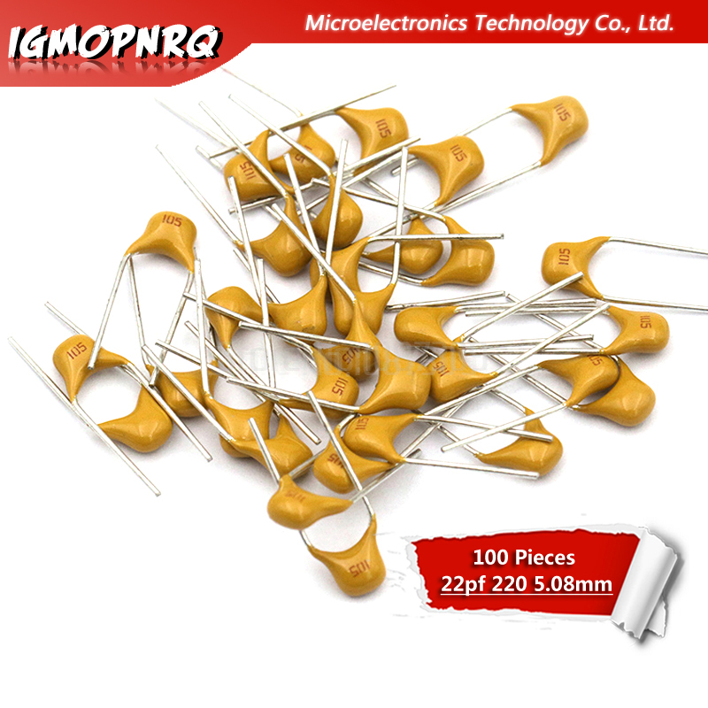 100Pcs Monolithic Capacitor 22PF 220 50V 10% Pitch 5.08MM Ceramic Capacitor 0805