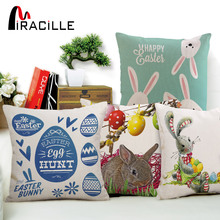 Miracille Happy Easter Cushion Cover Cute Smiling Bunny Rabbit Color Eggs Print Home Decor Pillow Cover For Sofa Bedroom Office