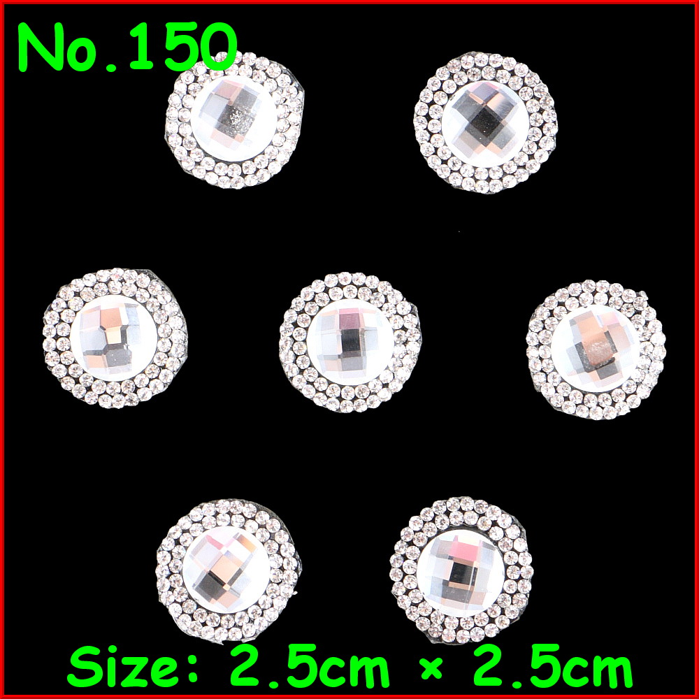 3 Pcs/Lot Shiny White BIg Round Motif Rhinestones Hot Fix Iron on Crystal Patch For Women Wedding Dress Veil Clothes DIY Garment