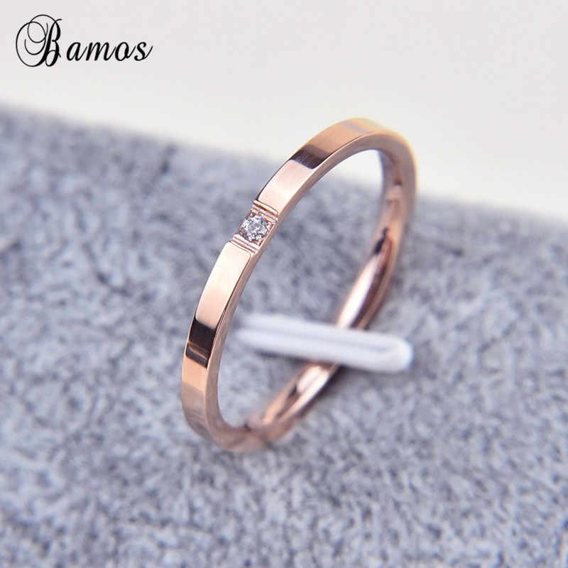 Bamosชายหญิงสแตนเลสแหวนที่เรียบง่ายรอบเพทายแหวนสำหรับผู้ชายผู้หญิงอินเทรนด์Rose G Oldสีเครื่องประดับ