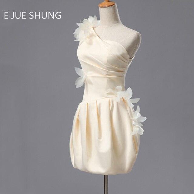 E JUE SHUNG Champagne Satin Eine Schulter Kurz Prom Kleider Blumen ...