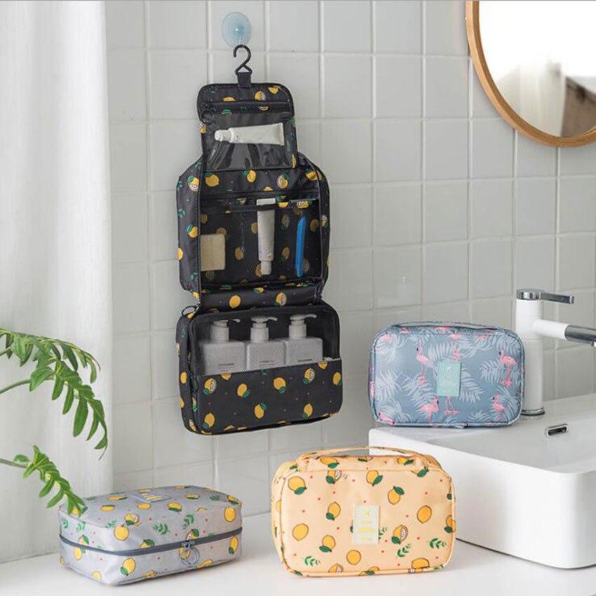 Organizer Bag Cosmetic Toiletries Wash-Bag Travel-Kit Printed Portable Women Trip Hook