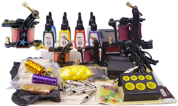 professional piercing set 2 guns complete tattoo set make up permanent machine tattoo kits sale