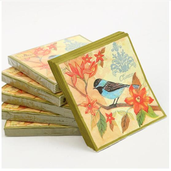 5 Napkins Robin Bird 33 x 33cm Tissue Decoupage Paper Party Card Making Craft