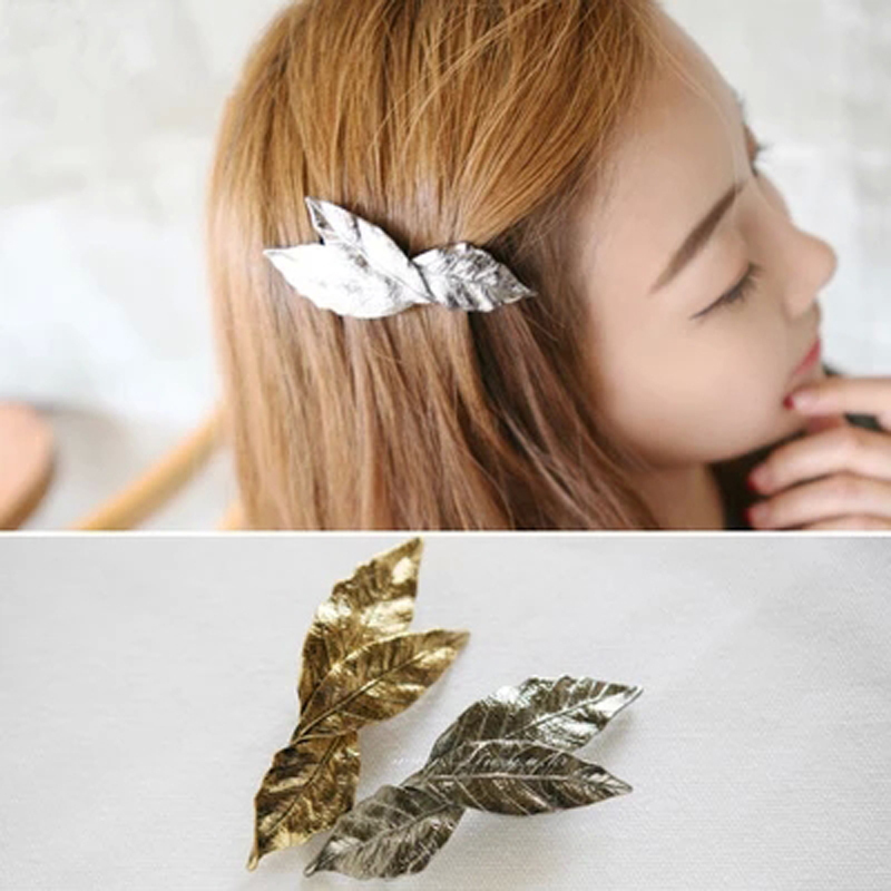 New Korean Hair Accessories Korea Three Leaves Vintage Metal Spring Clip Bangs Clip Hairpin Wholesale