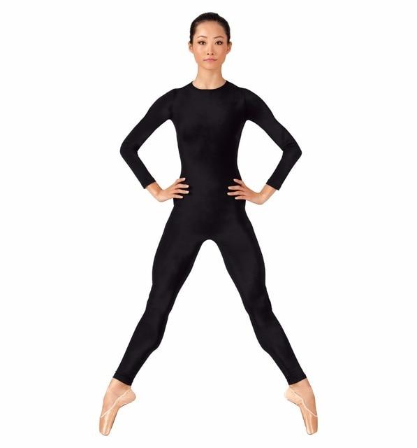 Long Sleeve Black Dance Unitard For Women Full Body Gymnastics Unitard  Spandex Lycra Bodysuits Crew Neck Sport Jumpsuit c625e39cf9f0