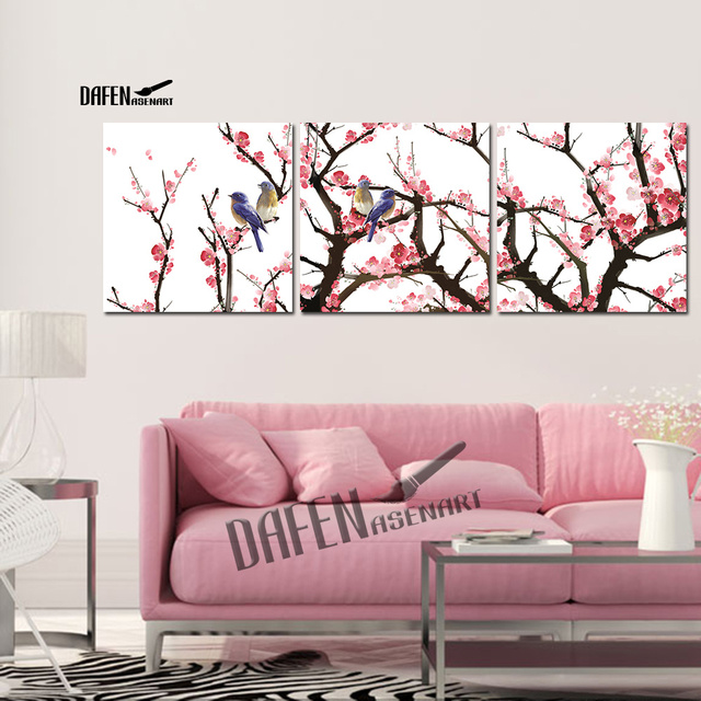 3 Pieces Chinese Style Wall Picture Birds on Plum Tree Painting ...