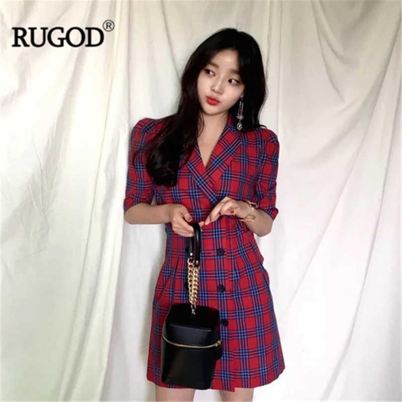 RUGOD клетчатое элегантное женское платье, облегающее, с высокой талией, ТРАПЕЦИЕВИДНОЕ, модное, официальное, летнее платье, modis femme vestido, кимоно