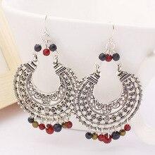 Bohemia Style Handmade Dangling Bead Drop Earrings 2017 Brincos Hollow Out Flower Tibetan Silver Vintage Retro Indian Jewelry