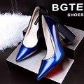 Zapatos de mujer de tacón alto de las mujeres maduras bombas mujeres del talón del cuadrado de cuero sexy tacones punta estrecha zapatos de las mujeres de alta calidad marca