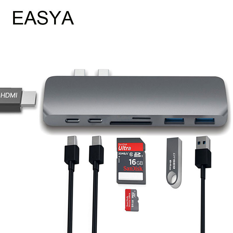 EASYA USB-C Hub zu HDMI Adapter Thunderbolt 3 USB C Hub Dock mit USB 3.0 Hub PD TF SD Kartenleser für MacBook Pro 2018 Typ C