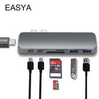 EASYA Thunderbolt USB Type C Hub Adapter Gray USB C Hub 3 0 Combo Dock Dock