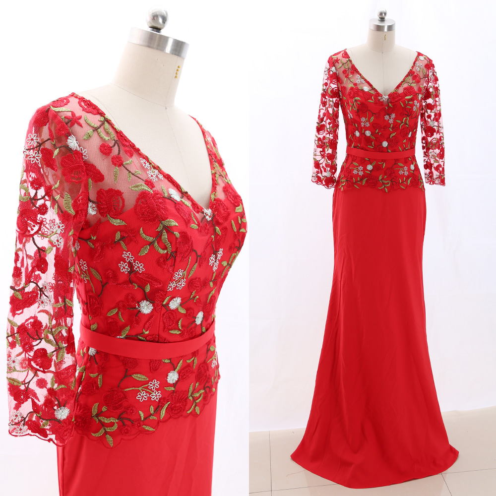 MACloth Red A-Line V Neck Floor-Length Long Embroidery Tulle   Prom     Dresses     Dress   S 266512 Clearance