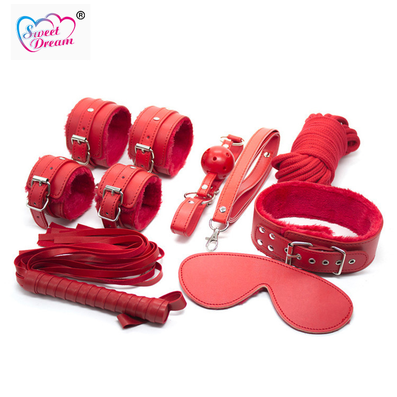 Sweet Dream 7PCS/Lot Adult PU Leather BDSM Bondage Set Handcuffs Whip Sex Toys Slave Sex Game For Couples Sex Products DW-100 adult sex products bondage restraints 10 pieces set sex toys for couples handcuffs whip gag for adult slave game erotic toys