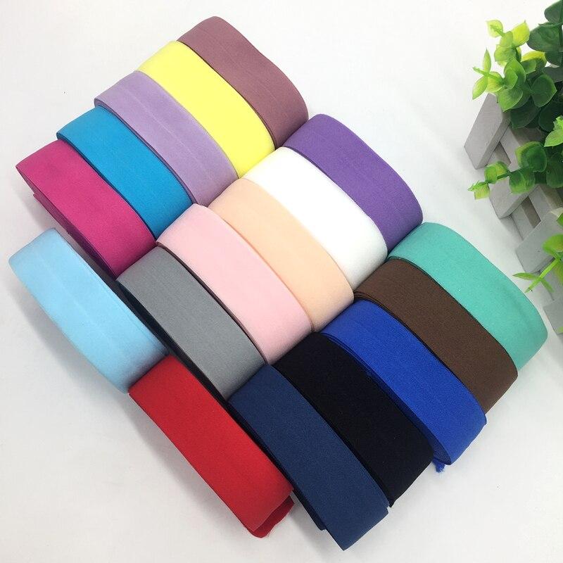 18 цветов 5 ярдов 1 «(25 мм) эластичная лента Multirole спандекс ленты Вышивание кружевная бейка Пояс аксессуары для одежды
