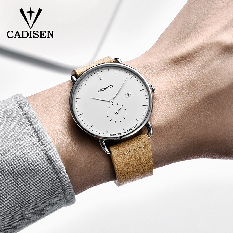 Image 5 - CADISEN New Fashion Mens Watches Quartz Clock Ultra Thin Business Watch Mens Leather Wristwatch Waterproof Relogio MasculinoQuartz Watches   -