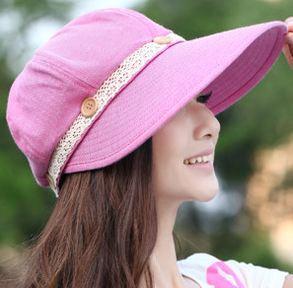 Verano 2015 de moda estilo plegable del sombrero del sol para mujer señora  de verano playa sombrero exterior de algodón anti ultravioleta mujer gorra  gorro ... 23046431b2f