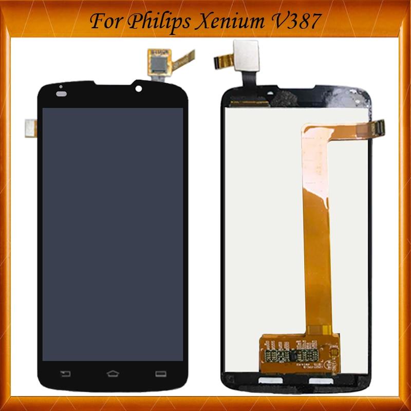 5.0 100% de Travail Bien Pour Philips Xenium V387 LCD Écran LCD D'affichage Avec Écran Tactile Digitizer Assemblée Pour V387 LCD Écran