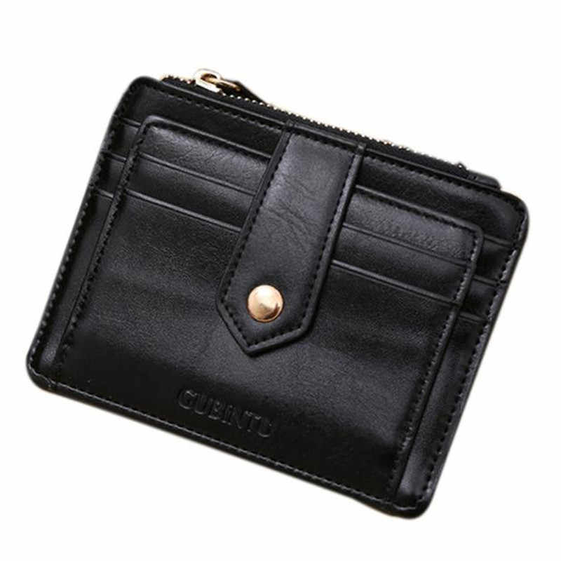 Ultra-Thin Card Holder PU Leather Men Women Mini Leather Zipper Credit Card ID Holders Money Cash Wallet Purse 2017 Hot Sale