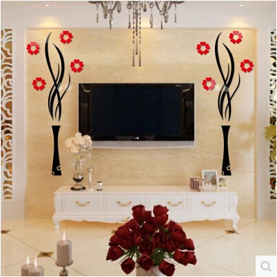 Single Piece Package Home Decoration Simple 3D Creative Art DIY Flowers  Waterproof Wall Sticker For Living