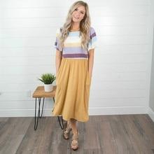 Pocket Short Sleeve Casual Women Dress Summer Elegant Ladies Striped Patchwork Midi Dress Tunic Beach Loose Plus Size Vestidos plus multi striped pocket side dress