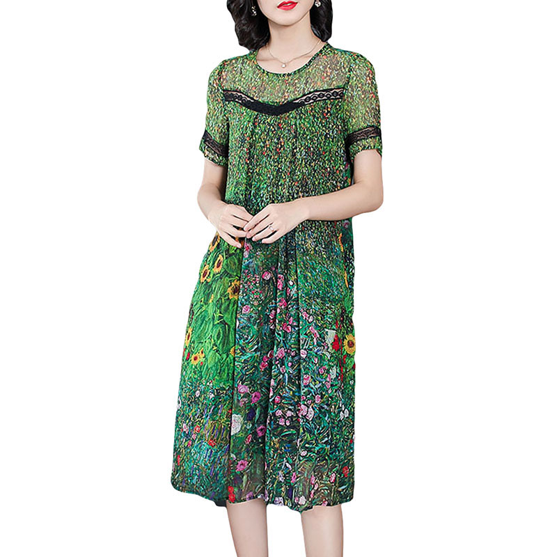 2019 New Female Vintage Peacock Green Silk Dresses Loose Floral Print Summer Dresses Lace Stitching Short Sleeve Women Dresses