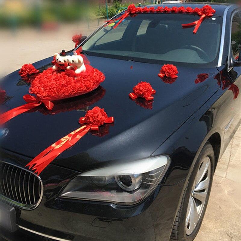 Свадебный автомобиль украшения Искусственные цветы Свадебные Декоративные цветы Пена розы шелк украшение оптовая продажа - 5