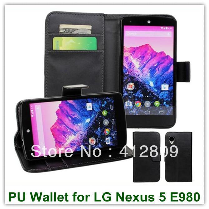 6Färger PU Plånbok Läder Bak Skal Fodral för LG Nexus 5 E980 - Reservdelar och tillbehör för mobiltelefoner