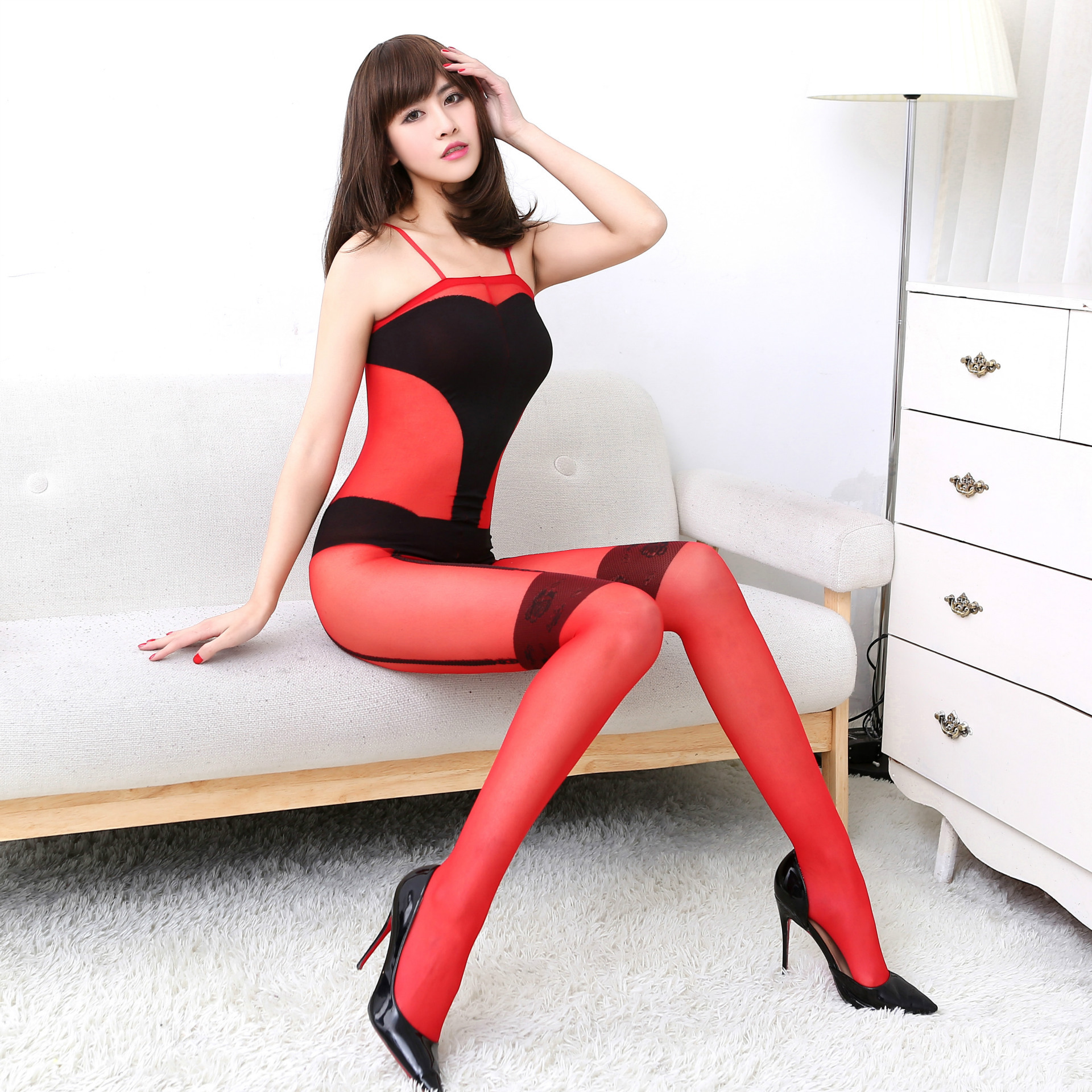 Sexy lady hit color thin tights Fashion red and black female was thin jacquard tights