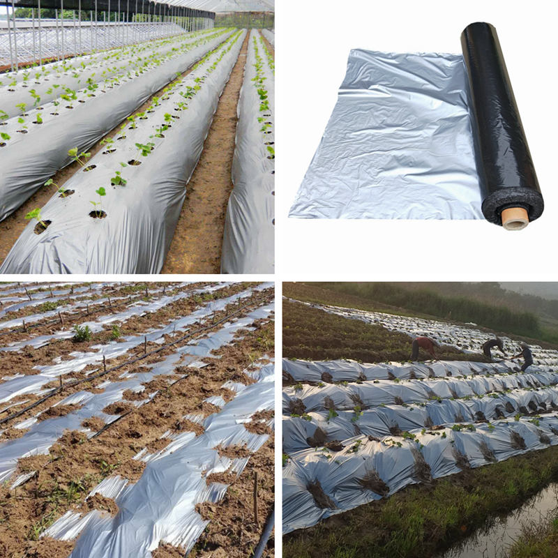 30m 0.012mm PE Mulch Film Silver Black Plastic Mulch Garden Ground Cover Film Frost Protection Keep Warm Weed Control