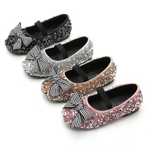 2019Spring New Childern Girls Shoes bow Sequin Bling Princess Kids for Girl Dance Party 3 4 5 6 7 8 9 10 11 12-14T