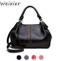 WEIXIER Black handbag women genuine leather shoulder bag women's Ladies satchel messenger bags woman real leather tote bag LW 36