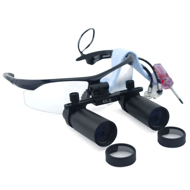 4.0x Magnification 280-380mm Distance Professional APD Loupes with Black BP Frame for Dental Surgical Jeweler or Hobby
