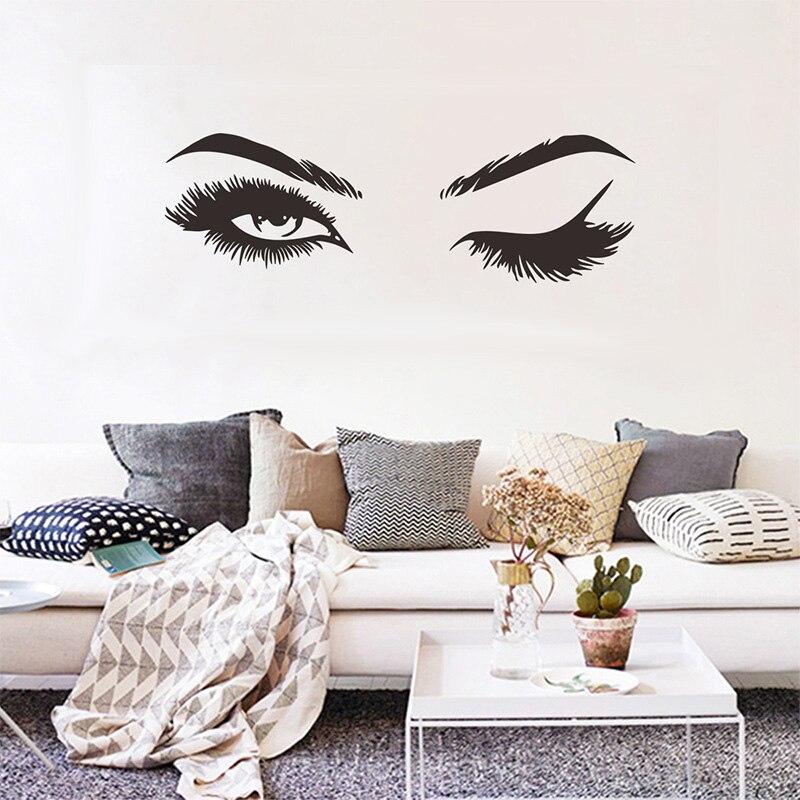 Créatif joli cils mur autocollant fille chambre salon décorations pour maison papier peint Mural Art stickers Sexy autocollants