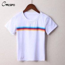 CWLSP Rainbow Women t-shirt 2017 Summer Casual Color Strip Print T shirt Short Tees Top Solid Cotton tumblr tshirt women QA1666(China)