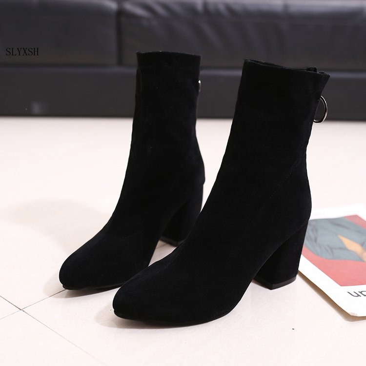 bcf49e65 Zapatos Señora Black Slyxsh Punta Moda Nueva black Grueso Mujer La Botas  Calcetines Mujeres 2 Stovepipe De Calidad Elásticas Tubo Invierno ...