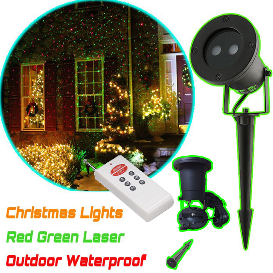 цена на Remote Control Waterproof laser christmas lights projector .Landscape Green & red laser Projector timer fucntion