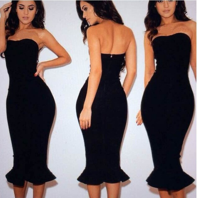 Sexy Party Strapless Mermaid Dress Off Shoulder Knee Length Black ...