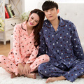 Spring autumn 100% Knitted cotton long sleeved lovers pajamas  cardigan homewear cartoon male lady Homewear