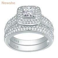 Newshe классические обручальные кольца для Для женщин 2 предмета 925 пробы Серебряные ювелирные изделия Обручение кольцо Set 2,26 КТ Принцесса Cut AAA ...