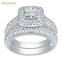 Newshe 2 sztuk klasyczne obrączki dla kobiet 925 srebro biżuteria zestaw pierścionków zaręczynowych 2.26 Ct księżniczka Cut AAA CZ JR4230
