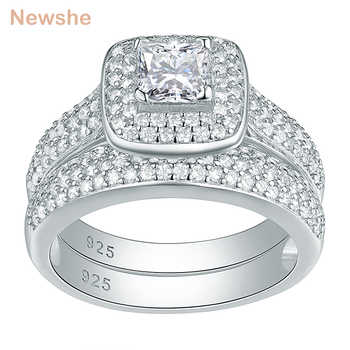 Newshe Classic Wedding Rings For Women 2 Pcs 925 Sterling Silver Jewelry Engagement Ring Set 2.26 Ct Princess Cut AAA CZ JR4230 - Category 🛒 All Category