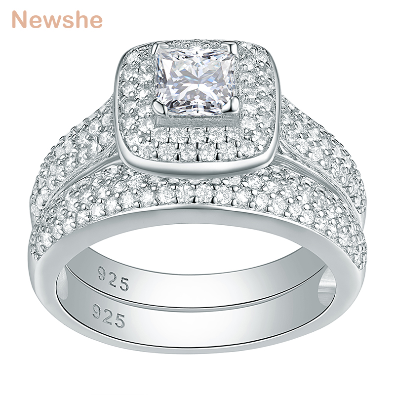 Newshe Classic Wedding Rings For Women 2 Pcs 925 Sterling Silver Jewelry Engagement Ring Set 2.26 Ct Princess Cut AAA CZ JR4230