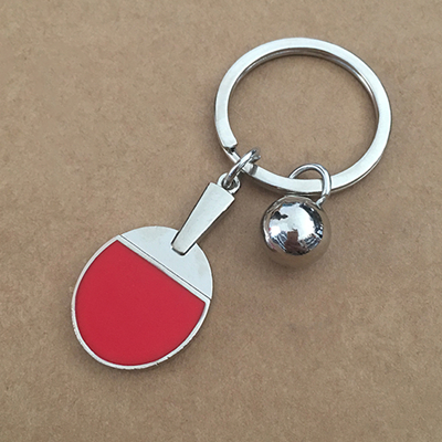 Теннисные ракетки, брелок для ключей, цинковый сплав, мужские и женские ювелирные аксессуары, ракетка для бадминтона, брелки, подарок, логотип на заказ, 3 шт./лот - Цвет: Ping pong paddle