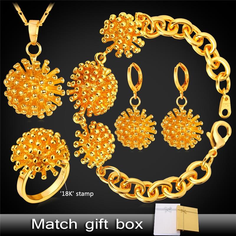 Pissenlit fleur bijoux goutte boucles d'oreilles Bracelet anneau pendentif collier ensemble pour femmes Dubai or/argent couleur bijoux ensemble PEHR1410